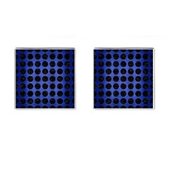 Circles1 Black Marble & Blue Brushed Metal (r) Cufflinks (square) by trendistuff