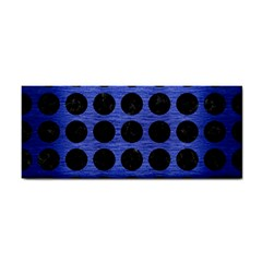 Circles1 Black Marble & Blue Brushed Metal (r) Hand Towel by trendistuff