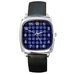 Circles1 Black Marble & Blue Brushed Metal Square Metal Watch by trendistuff