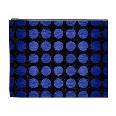Circles1 Black Marble & Blue Brushed Metal Cosmetic Bag (xl) by trendistuff
