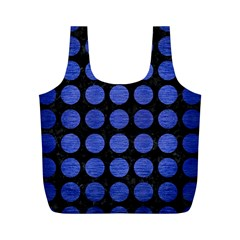 Circles1 Black Marble & Blue Brushed Metal Full Print Recycle Bag (m) by trendistuff