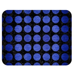 Circles1 Black Marble & Blue Brushed Metal Double Sided Flano Blanket (medium) by trendistuff