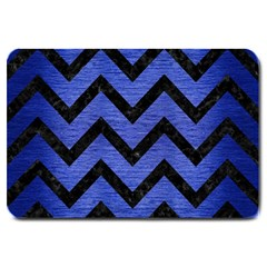 Chevron9 Black Marble & Blue Brushed Metal (r) Large Doormat by trendistuff