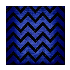 Chevron9 Black Marble & Blue Brushed Metal (r) Face Towel