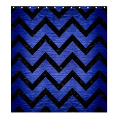 Chevron9 Black Marble & Blue Brushed Metal (r) Shower Curtain 66  X 72  (large) by trendistuff