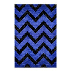 Chevron9 Black Marble & Blue Brushed Metal (r) Shower Curtain 48  X 72  (small) by trendistuff