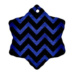 Chevron9 Black Marble & Blue Brushed Metal Ornament (snowflake) by trendistuff