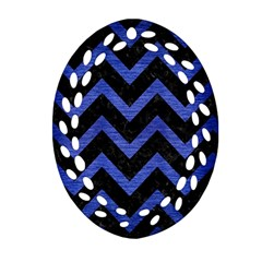 Chevron9 Black Marble & Blue Brushed Metal Ornament (oval Filigree) by trendistuff