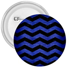 Chevron3 Black Marble & Blue Brushed Metal 3  Button by trendistuff