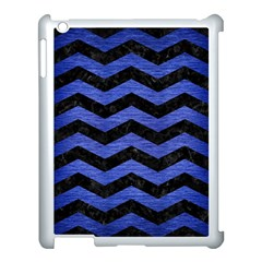 Chevron3 Black Marble & Blue Brushed Metal Apple Ipad 3/4 Case (white)