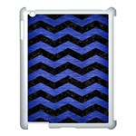 CHEVRON3 BLACK MARBLE & BLUE BRUSHED METAL Apple iPad 3/4 Case (White) Front