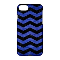 Chevron3 Black Marble & Blue Brushed Metal Apple Iphone 7 Hardshell Case by trendistuff