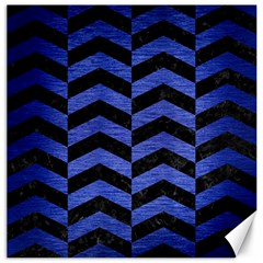 Chevron2 Black Marble & Blue Brushed Metal Canvas 12  X 12  by trendistuff