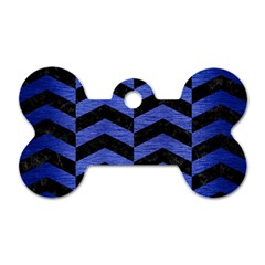 Chevron2 Black Marble & Blue Brushed Metal Dog Tag Bone (one Side) by trendistuff