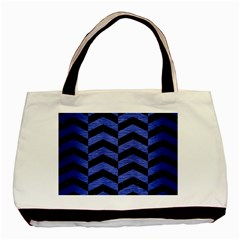 Chevron2 Black Marble & Blue Brushed Metal Basic Tote Bag (two Sides) by trendistuff