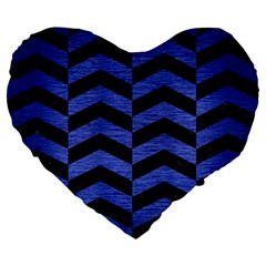 Chevron2 Black Marble & Blue Brushed Metal Large 19  Premium Flano Heart Shape Cushion by trendistuff