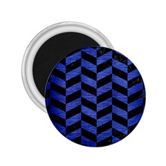 Chevron1 Black Marble & Blue Brushed Metal 2 25  Magnet by trendistuff