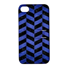 Chevron1 Black Marble & Blue Brushed Metal Apple Iphone 4/4s Hardshell Case With Stand by trendistuff