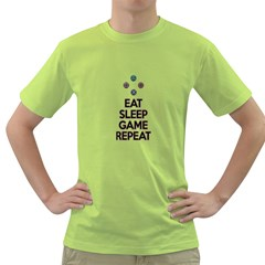 Eat Sleep Game Repeat Green T Shirt by Valentinaart