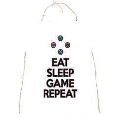 Eat Sleep Game Repeat Full Print Aprons by Valentinaart