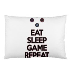 Eat Sleep Game Repeat Pillow Case (two Sides) by Valentinaart