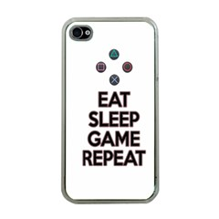 Eat Sleep Game Repeat Apple Iphone 4 Case (clear) by Valentinaart
