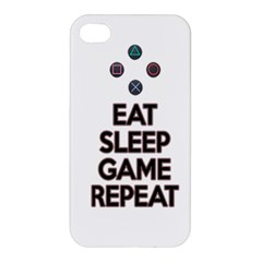 Eat Sleep Game Repeat Apple Iphone 4/4s Premium Hardshell Case by Valentinaart