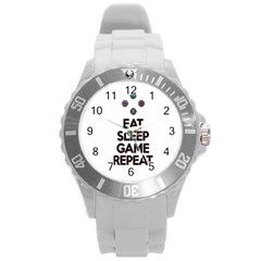 Eat Sleep Game Repeat Round Plastic Sport Watch (l) by Valentinaart