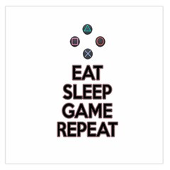Eat Sleep Game Repeat Large Satin Scarf (square) by Valentinaart