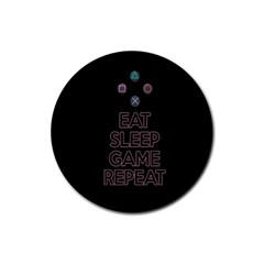 Eat Sleep Game Repeat Rubber Round Coaster (4 Pack)  by Valentinaart