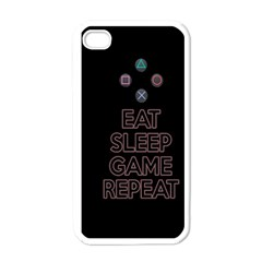 Eat Sleep Game Repeat Apple Iphone 4 Case (white) by Valentinaart