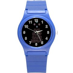 Eat Sleep Game Repeat Round Plastic Sport Watch (s) by Valentinaart