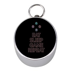 Eat Sleep Game Repeat Mini Silver Compasses by Valentinaart