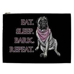 Eat, Sleep, Bark, Repeat Pug Cosmetic Bag (xxl)  by Valentinaart
