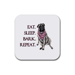 Eat, Sleep, Bark, Repeat Pug Rubber Square Coaster (4 Pack)  by Valentinaart