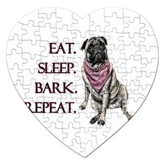 Eat, Sleep, Bark, Repeat Pug Jigsaw Puzzle (heart) by Valentinaart
