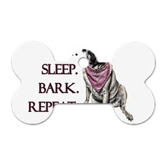 Eat, Sleep, Bark, Repeat Pug Dog Tag Bone (one Side) by Valentinaart
