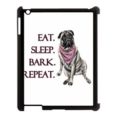 Eat, Sleep, Bark, Repeat Pug Apple Ipad 3/4 Case (black) by Valentinaart