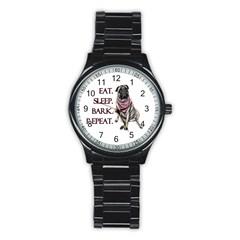 Eat, Sleep, Bark, Repeat Pug Stainless Steel Round Watch by Valentinaart