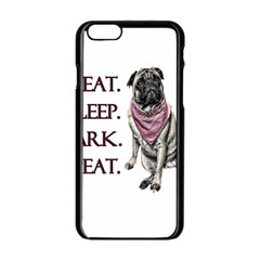 Eat, Sleep, Bark, Repeat Pug Apple Iphone 6/6s Black Enamel Case by Valentinaart