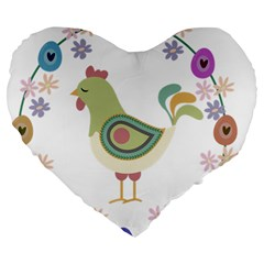Easter Large 19  Premium Flano Heart Shape Cushions by Valentinaart