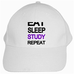 Eat Sleep Study Repeat White Cap by Valentinaart