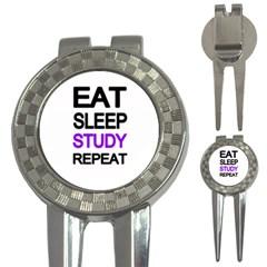 Eat Sleep Study Repeat 3 In 1 Golf Divots by Valentinaart