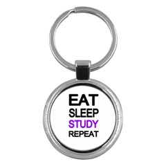 Eat Sleep Study Repeat Key Chains (round)  by Valentinaart