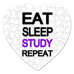 Eat Sleep Study Repeat Jigsaw Puzzle (heart) by Valentinaart