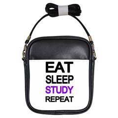 Eat Sleep Study Repeat Girls Sling Bags by Valentinaart