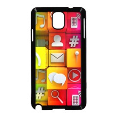 Colorful 3d Social Media Samsung Galaxy Note 3 Neo Hardshell Case (Black) by Gogogo
