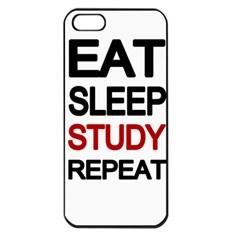Eat Sleep Study Repeat Apple Iphone 5 Seamless Case (black) by Valentinaart