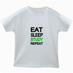 Eat Sleep Study Repeat Kids White T Shirts by Valentinaart