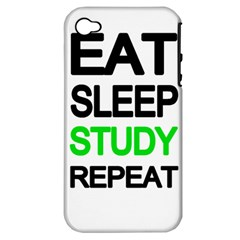 Eat Sleep Study Repeat Apple Iphone 4/4s Hardshell Case (pc+silicone) by Valentinaart